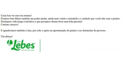 Lojas Lebes é nossa cliente patrocinadora em leis de incentivo!