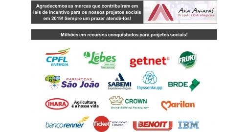 Milhões em recursos conquistados para projetos sociais em 2019!