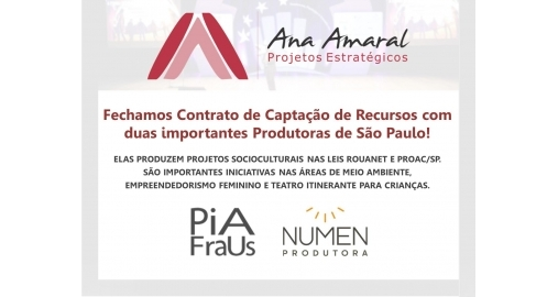 Fechamos Contrato de Captação de Recursos com duas produtoras de São Paulo!