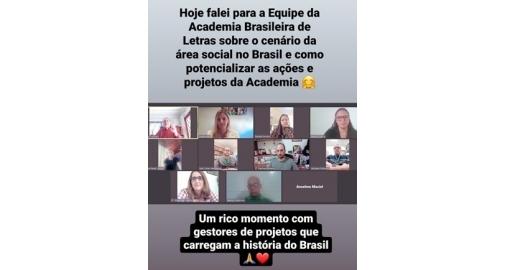Ana Amaral falou para a Equipe da Academia Brasileira de Letras do RJ!