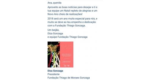 Mensagem especial de Diza Gonzaga, Presidente da Fundação Thiago Gonzaga
